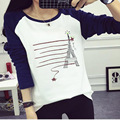 2016 Autumn and Winter New Korean Version Large Size Women Long-sleeve Printed Cotton T-shirt Two Colors