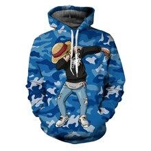 Monkey D Luffy Hooded Camouflage Coat 3D Printed Hoodies Sweatshirts Pullovers