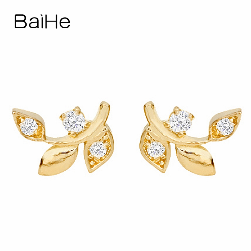 BAIHE Solid 18K Yellow Gold 0.01CT H/SI Round 100% Genuine Natural Diamonds Engagement Jewelry Elegant Unique Gift Stud Earrings baihe solid 18k yellow gold au750 engagement