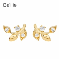 BAIHE Solid 18K Yellow Gold 0.01CT H/SI Round 100% Genuine Natural Diamonds Engagement Jewelry Elegant Unique Gift Stud Earrings
