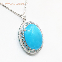 Hot Natural Stone Pendant Chain Blue Jades Chalcedony Choker Stainless Steel Necklace & Pendants Zircon Jewelry 25x33mm B3313