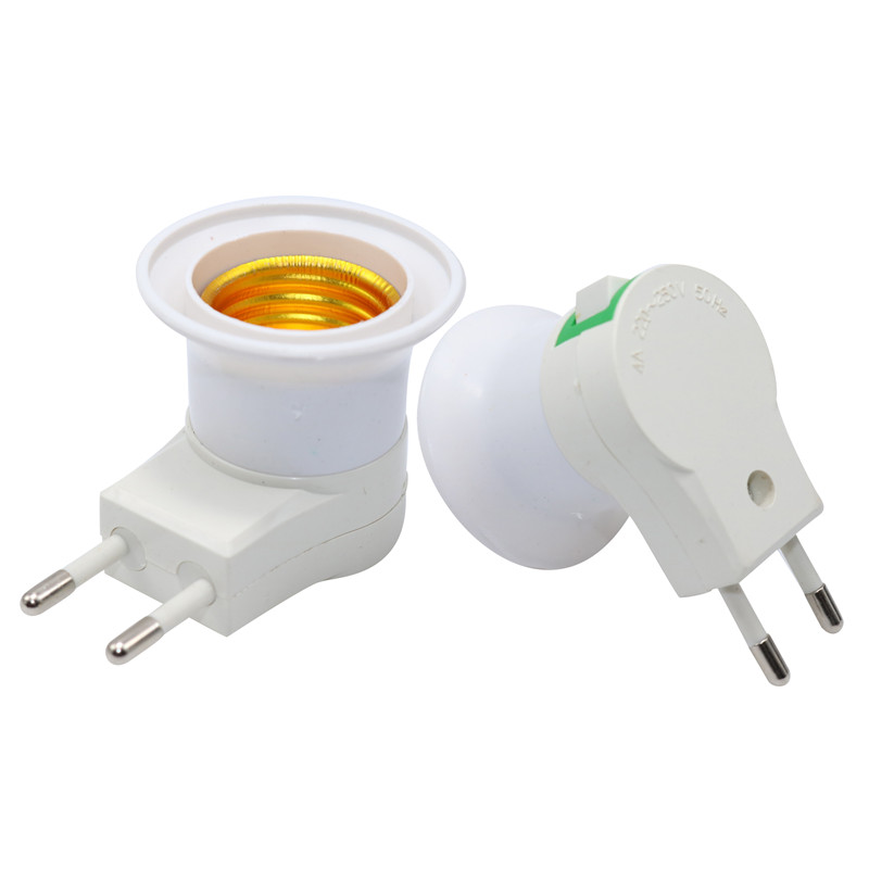 2 Pcs Lamp Base E27 Female Socket To EU Plug Adapter LED Light Male Socket Converter With On-off Control Switch Lamp Holder