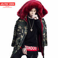 Aelfric Eden Men Parka Fur Collar Hood Green Long Coat Jacket Military Hooded Jackets Fleece Winter Camouflage Hip Hop Outwear