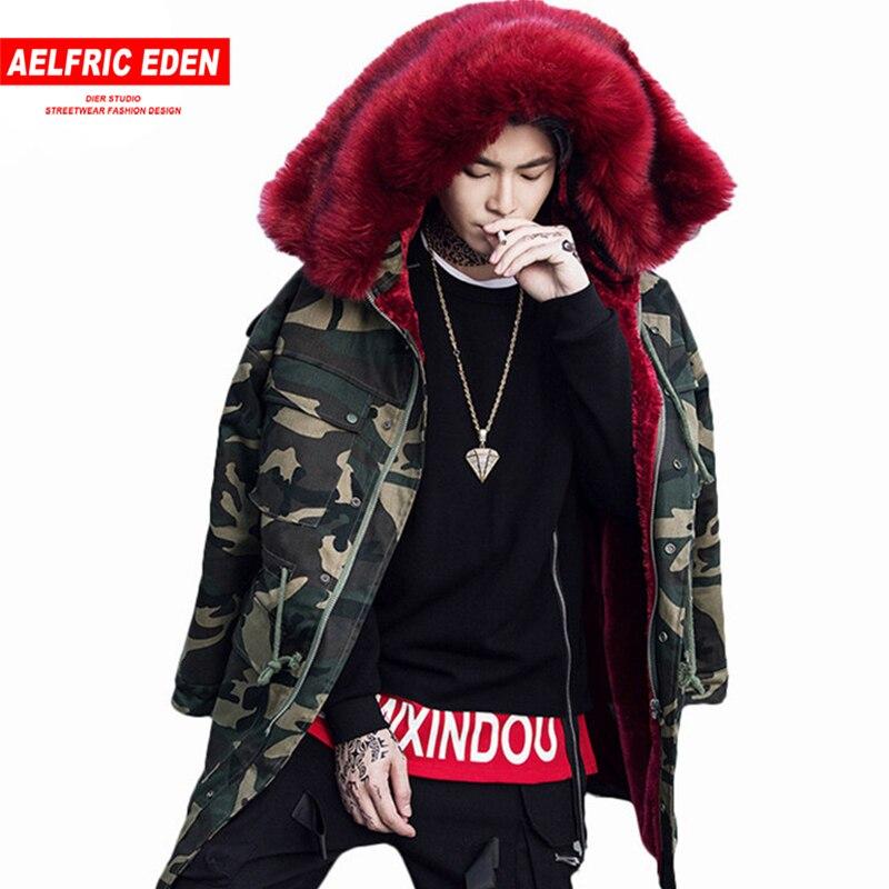 Aelfric Eden hombres Parka con Cuello de piel capucha verde largo abrigo chaqueta militar con capucha chaquetas de camuflaje de invierno Hip Hop Outwear-in Parkas from Ropa de hombre    1