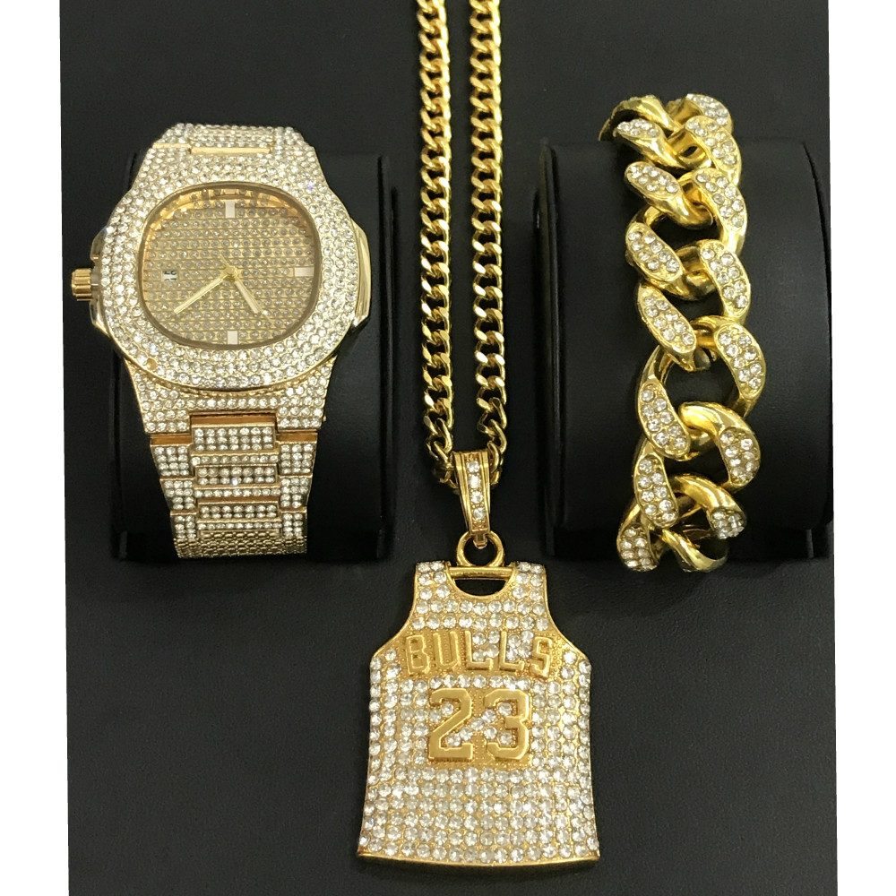 Luxury Men Gold Watch & <font><b>Bracelet</b></font> & Necklace Combo <font><b>Set</b></font> 23 number Pendant Ice Out Cuban Watch jewelry In Crystal Hip Hop For Men image