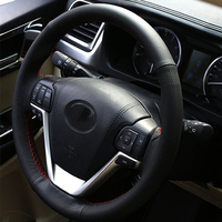 Free Shipping High Quality cowhide Top Layer Leather handmade Sewing Steering wheel covers protect For Toyota Highlander