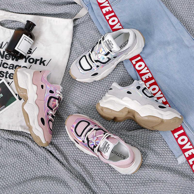 Fujin Primavera Della Piattaforma di Modo Scarpe Da Tennis Delle Signore Causale Scarpe di Cuoio della Donna Pattini Della Piattaforma Delle Donne Scarpe Da Ginnastica Bianche Chaussure Femme