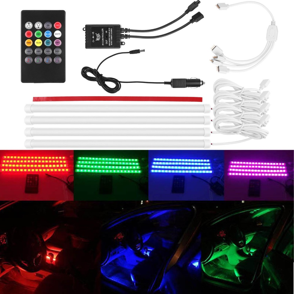 12V Car RGB LED Strip Light Wireless Music Sound Sensor IR Remote Controller Kit