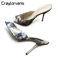 Craylorvans Calidad Superior 10.7/12.4 cm Impresión Colorida Mujeres Bombas 2017 Nueva Sexy Peep Toe de Tacón Fino Women Shoes