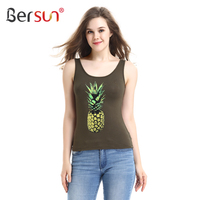 Summer Fashion Women Tank Top Novel Pineapple Print Sleeveless Tanktop Green Female Cotton Tops Vest