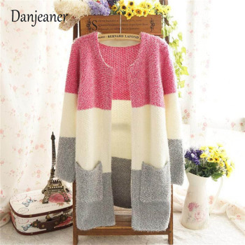 Danjeaner Autumn Winter Mohair Long Cardigans Women Round Neck Long Sleeve Casual Knitting Sweaters Fashion Knitwear Jumper Pull
