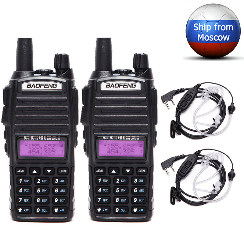 2PCS Baofeng UV 82Plus 8W Powerful Walkie Talkie 10km Long Range Portable CB Transceiver Dual PTT