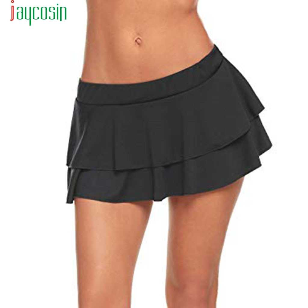 JAYCOSIN Sexy Bodycon Micro Mini Skirts Party And Evening Short Ruffle Skirt Solid Sexy School Girl Costumes 2019 new