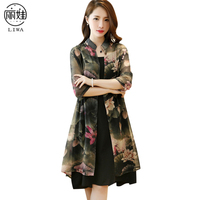 LIWA 2017 Summer Women Dress Chinese Ink Painting Loose Dress Floral Print Two Pieces Dress Plus Size Vestidos High Quality D16