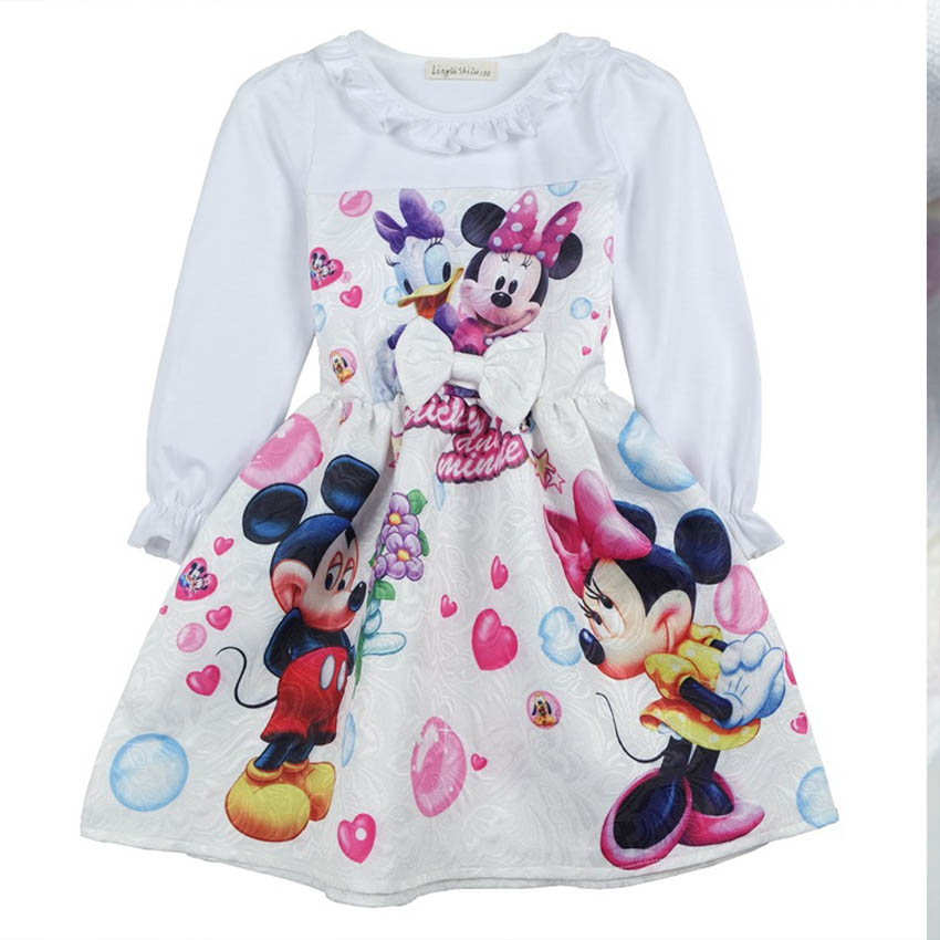 Girls New Year Christmas Dress Children Minnie & mickey Costume Baby Girl Elsa Flower Dress Princess Party Wedding White Dresses baby girls flower dresses for weddings enfants party dress sweet princess one piece elsa costume sleeveless o neck 5 colors