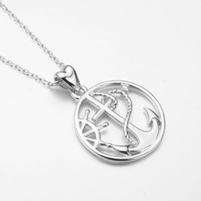 925 Sterling Silver Round Crystal Anchor & Rudder Necklaces