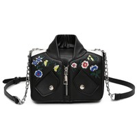 2017 New Floral Embroidery Vintage Women Bag PU Motorcycle Jacket Shape Women Messenger Bags Chain Strap