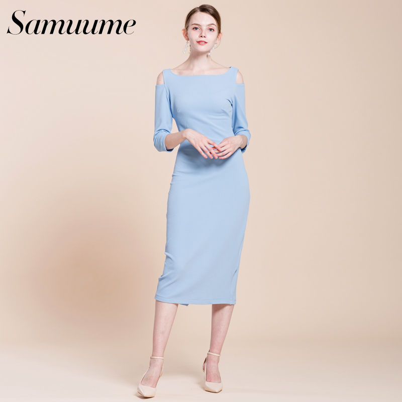 073bbd0d9b9 Samuume Elegant Turtleneck Long Sleeve Knit Dress 2018 New Autumn Warm  Bodycon Dress Winter Office Wrap Dresses Vestido A1708050