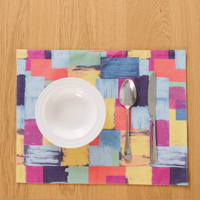 New Colorful Cotton Linen Table Mats Rectangle Pads 32x45cm Mat Thick  Double Sided Cloth Kitchen Bar