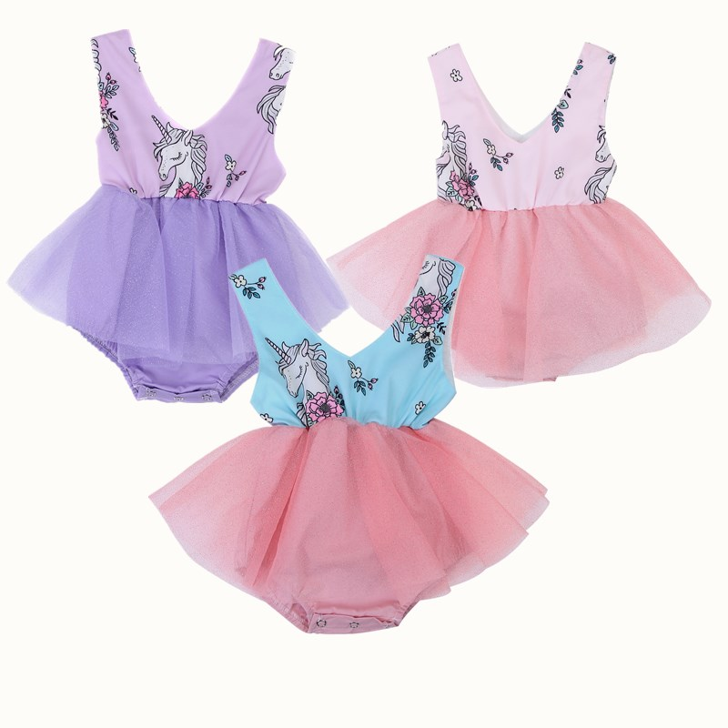 Cute Toddler Baby Girl Cartoon Horse Print Lace Tulle Tutu Romper Kids Fancy Princess Wedding Sleeveless Summer Rompers Clothes ems dhl free shipping toddler little girl s 2017 princess ruffles layers sleeveless lace dress summer style suspender