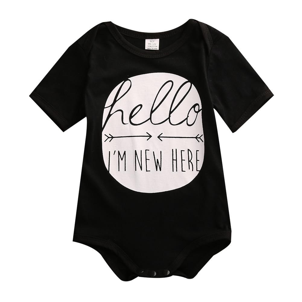 Helen115 Cute Newborn Kids Baby Boy Girl HELLO I AM HERE Short Sleeve O neck Cotton Bodysuit 0-24M