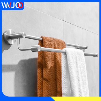 Doubel Towel Bar Brushed Stainless Steel Bathroom Towel Holder Wall Mounted Shower Towel Rack Hanging Holder Rail Storage Rack towel holder stainless steel doubel towel bar holder bathroom towel rack hanging holder wall mounted toilet clothes hanger shelf