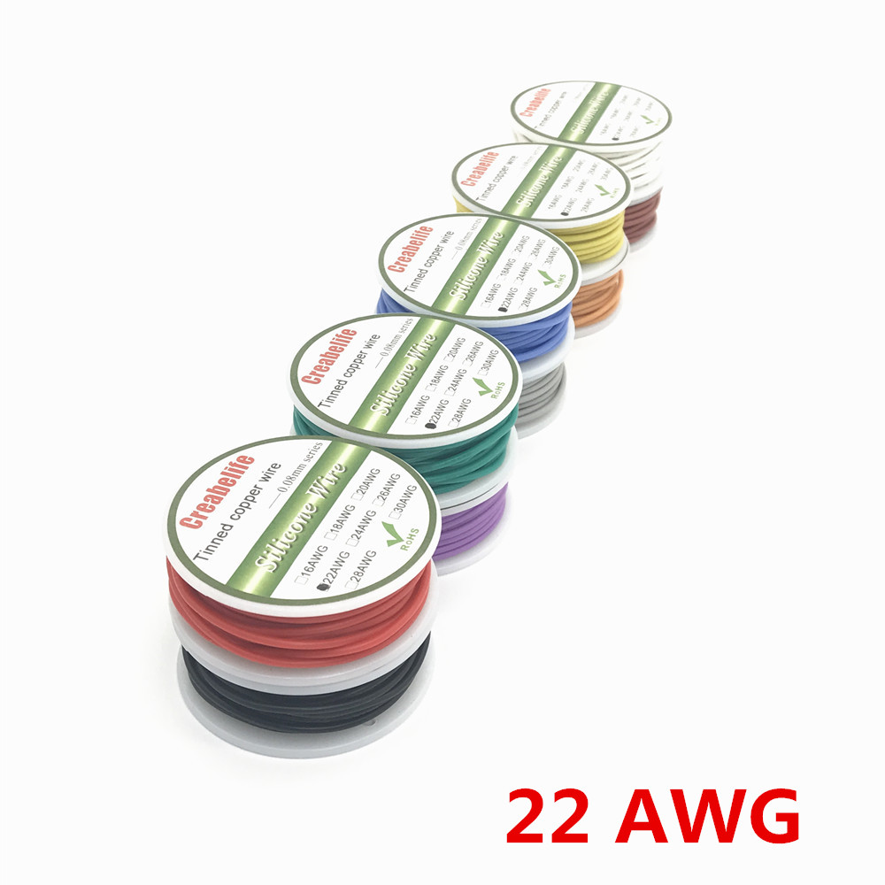 6m 22 AWG Flexible Silicone Wire RC Cable 22AWG Outer Diameter 1.7mm Line With 10 Colors to Select With Spool 1meter red 1meter black color silicon wire 10awg 12awg 14awg 16 awg flexible silicone wire for rc lipo battery connect cable