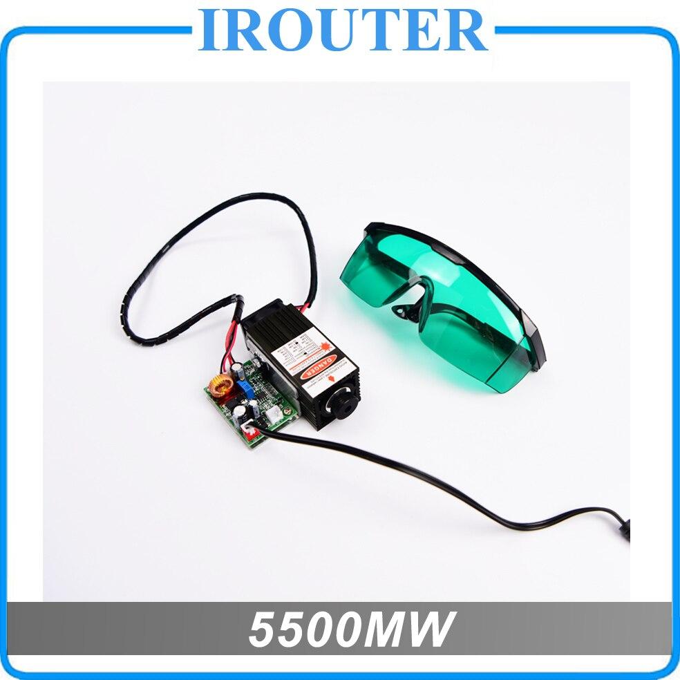 5.5 w 450nm module laser bleu, machine de gravure laser pièces, de découpe laser TTL module 5500 mw tube laser