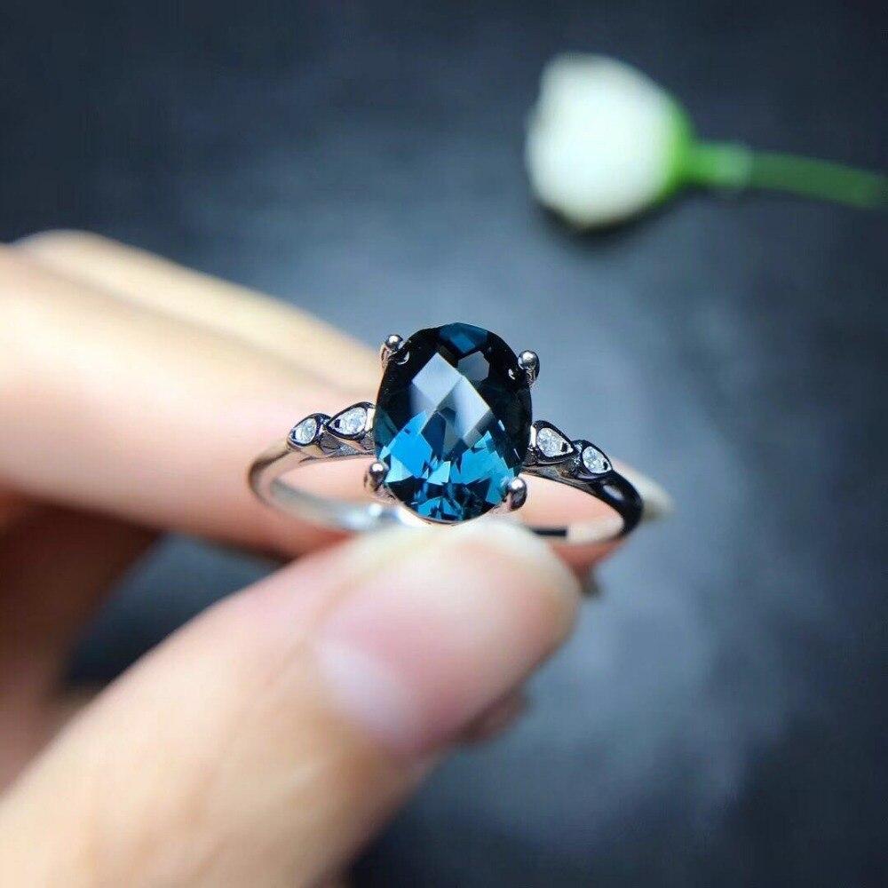 Topaze bleu londres bague solide 925 en argent Sterling pierres précieuses bijoux fins femmes de mariage marque bijoux