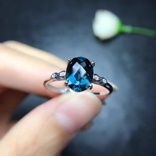 London Blue Topaz Ring Solid 925 Sterling Silver Gemstone Fine Jewelry