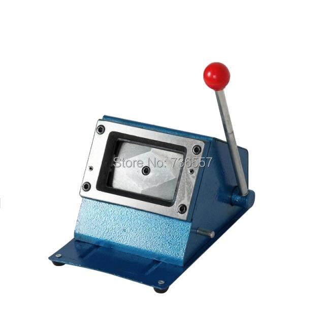 Résistant 3.38*2.12 pouces (86*54mm) rond manuel carte de papier coupe PVC carte perforateur manuel en plastique carte découpeur - 2