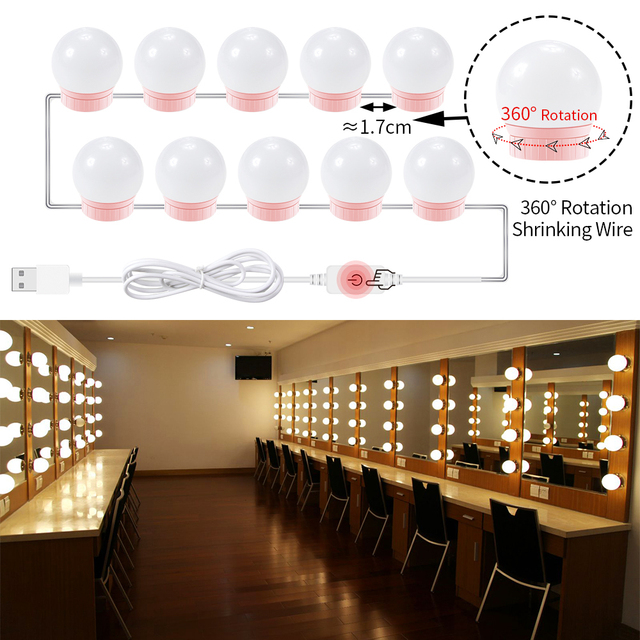 Hollywood Vanity Makeup Mirror Light Bulb USB 5V Make Up Lamp Dressing Table 6 10 14 Bulbs Kit Bathroom Cosmetic Lights Bedroom