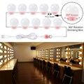 Голливудская Косметическая зеркальная лампочка USB 5 В  Косметическая лампа  туалетный столик 6  10  14 лампочек  набор для ванной  косметические...