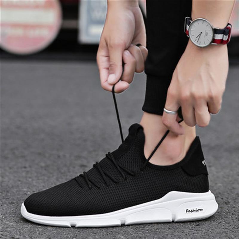 цены на New 2018 Spring Summer Mesh Shoes Men Sneakers Low top Black Shoes Men's Casual Shoes Male Brand Sneakers в интернет-магазинах