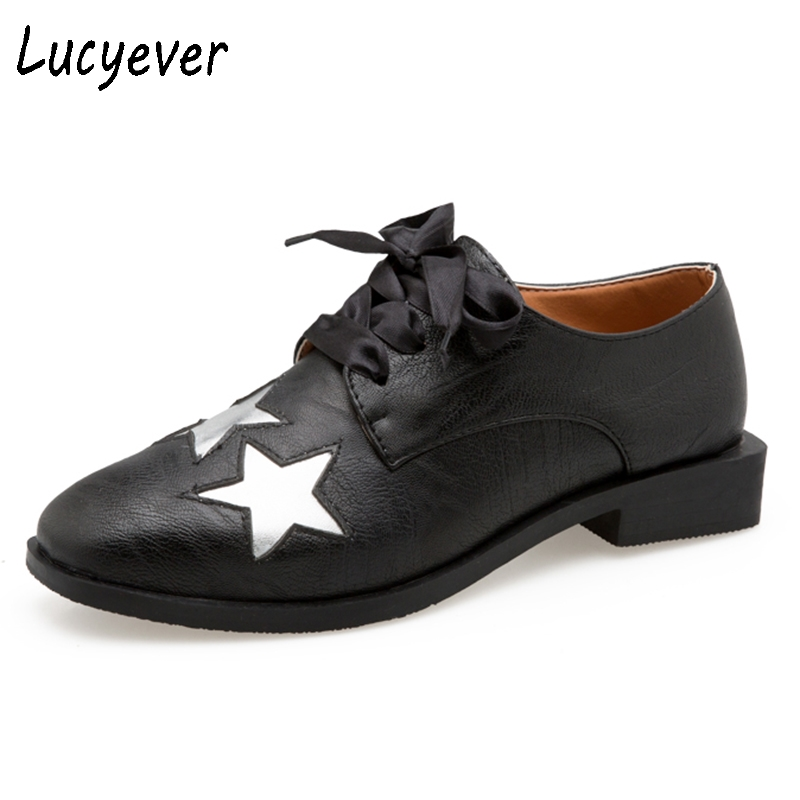 Lucyever 2018 European Brogues Shoes Woman Stars Bullock Shiny Leather Shoes Classic lace up Square Toe Casual Shoes Gold Silver keddo womens lace up brogues