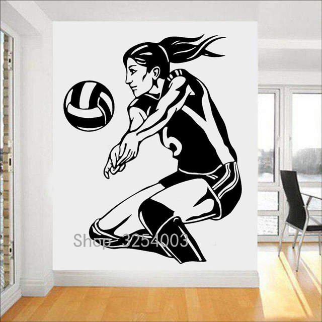 US $6.98 15% OFF|Sport Girl Wall Stickers Teen Girls Bedroom Volleyball  Player Beach Woman Vinyl Wall Decal Removable Female Art Home Decor S389-in  ...
