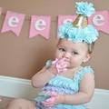 Brillo de la Corona de Cumpleaños linda Princesa Flor Diadema Para Bebé Recién Nacido Niño Sombrero Del Partido de Danza de Oro Elástico Del Pelo Venda de los Accesorios