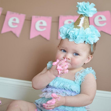 Cute Princess Birthday Glitter Crown Flower Headband For Girls Kid Dance Party Gold Hat Elastic Hair Band Accessories