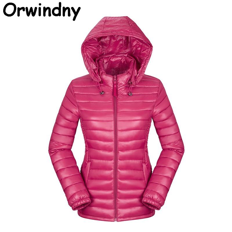 Orwindny Women Ultra Light Jacket Hooded Winter Down Cotton Jackets Women Slim Long Sleeve   Parka   Zipper Coats 2019 Pockets Solid