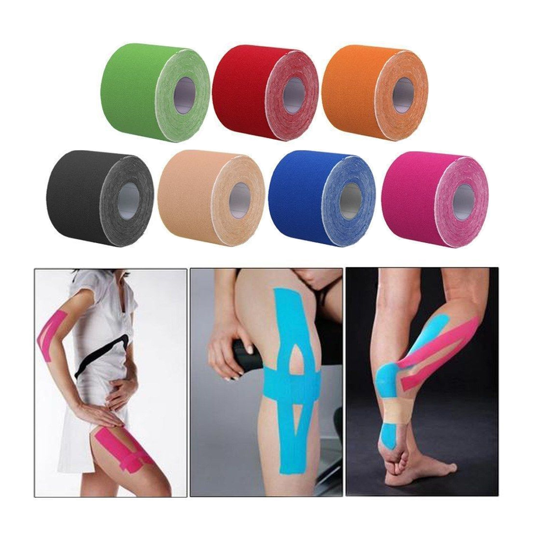 2.5cmx5m Waterproof Tape Athletic Kinesiology Tape Sport Taping Strapping Basketball Football Rodilleras Deportivas Muscle Tape