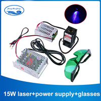 15W/15000mW Focusable Blue Laser Module High Power Diode Laser 450nm with TTL Driver for laser cutter engraving machine cnc