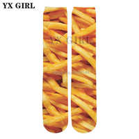 YX GIRL High quality cotton socks 2018 summer New Fashion 3d socks Food French Fries / Pizza / Beef Print Men/Women casual Sock