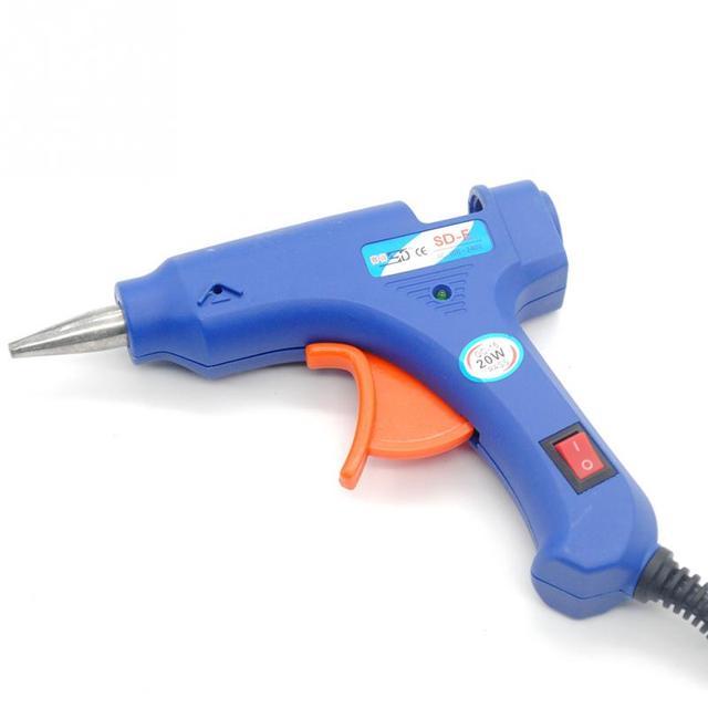 NEW 100-220V High Temp Heater Melt Hot Glue Gun 20W Repair Tool Heat Gun Blue Mini Gun With Trigger US/EU Plug