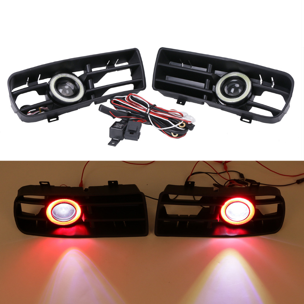LED Fog Lights Red Angel Eyes Front Bumper Grille Grill Cover Foglight Kit For VW GOLF GOLF 4 GLS GTI TDI MK4 1998-2004 #9442 front bumper fog lamp grille led convex lens fog light angel eyes for vw polo 2001 2002 2003 2004 2005 drl car accessory p364