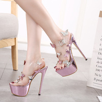 2019 summer new European and American style butterfly decorative platform high heel sandals 34 40 yards.
