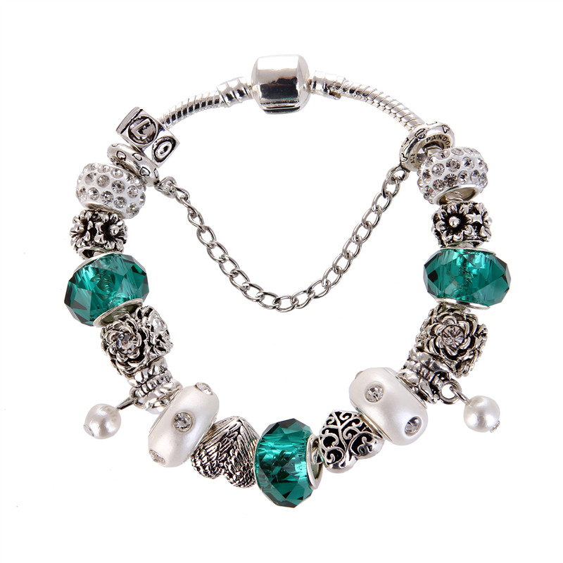 High Quality Green crystal pearl Pendant Noble Pretty Charm Bracelet Pandora Bracelet For Women/Gril gift jewelry Drop Shipping