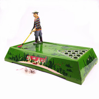 [Funny] Adult Collection Retro Wind up toy Metal Tin Playing golf ball sport Mechanical toy Clockwork figures model kids gift
