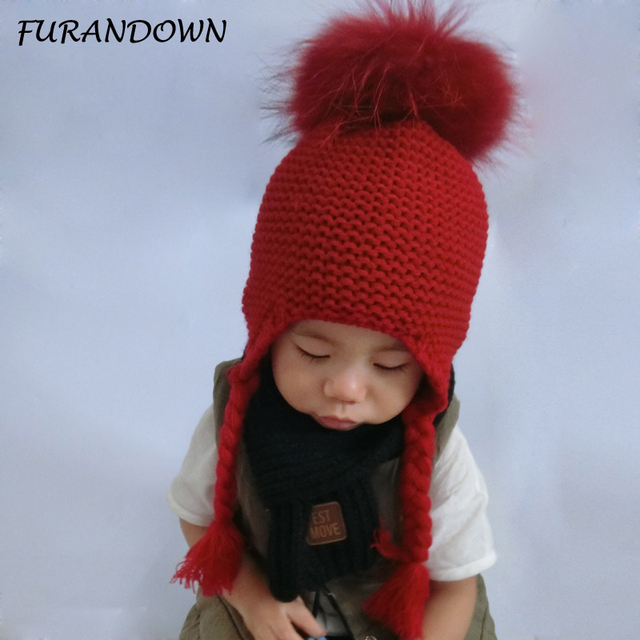 441818742a2 FURANDOWN Baby Girl Winter Raccoon Fur Hats Children Knitted Wool Earflap  Beanies For Boys Kids Warm Hat Cap