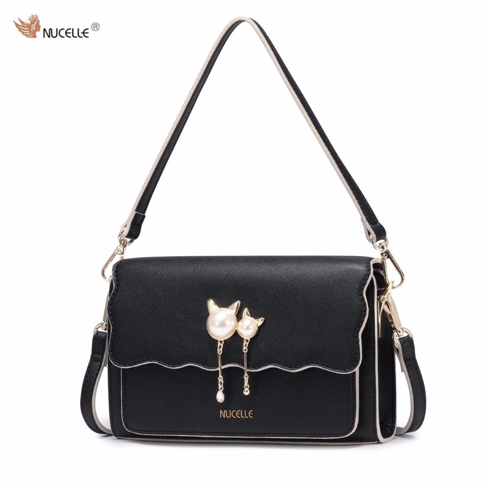 NUCELLE Brand Autumn New Design Fashion Pearls  PU Leather Women Lady Handbag Shoulder Cross Body Bag