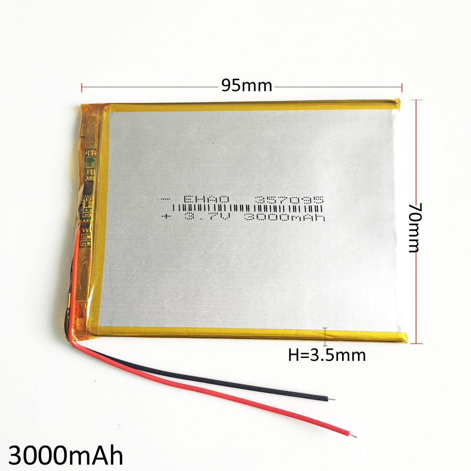 3.7V 3000mAh 357095 Polymer Lithium Li-Po Rechargeable Battery For MP3 GPS DVD E-book 7 8 Tablet PC mobile phone power bank
